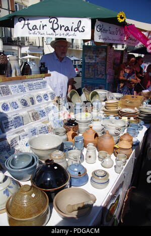 Earthen Ware Pottery on Sale at a Market Stand. Sidmouth Folk Festival, East Devon, UK. August, 2018. - Stock Photo