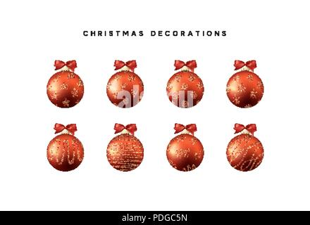 Xmas set balls red color. Christmas bauble decoration elements. - Stock Photo