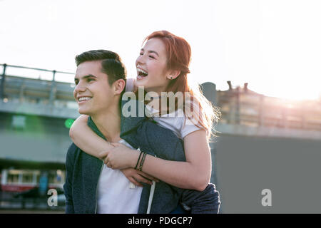 Delighted positive couple having a great time - Stock Photo