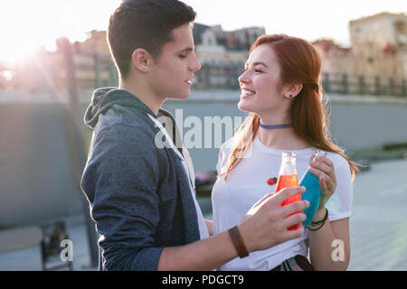 Nice young couple having a date So delicious. - Stock Photo