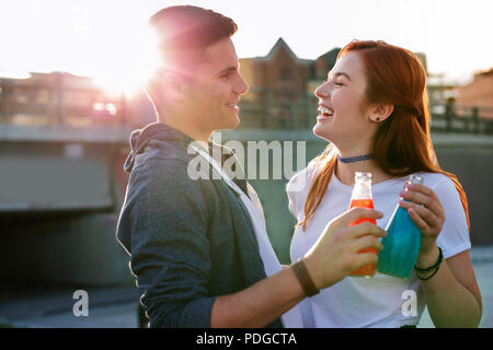 Happy nice couple enjoying their date So delicious. - Stock Photo