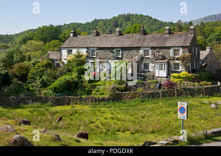 Row of cottages in summer Elterwater Langdale Valley Cumbria England UK United Kingdom GB Great Britain - Stock Photo