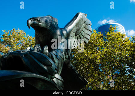 Bronze Eagle at East Coast memorial, The Battery, New York City - Stock Photo