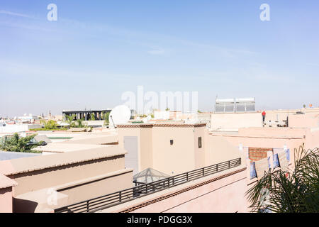 marrakesh morocco rooftop view with blue sky - Stock Photo