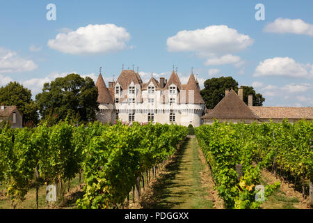 Chateau de Monbazillac and grape vines, a vineyard in the Bergerac area of the Dordogne, Monbazillac, Bergerac, Dordogne, France Europe - Stock Photo