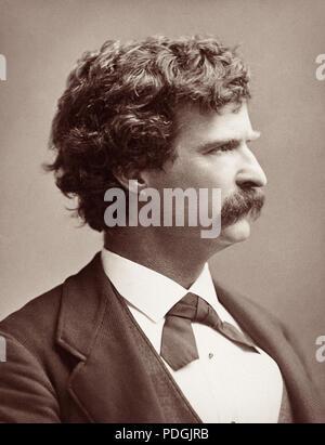 Mark Twain (Samuel Langhorne Clemens), c1880. - Stock Photo