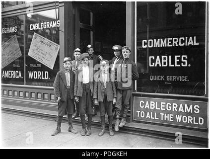 Postal Telegraph Messengers. Indiana has no age limit for messengers, August 1908 - Stock Photo