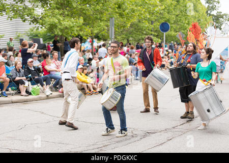 Cleveland, Ohio, USA - June 9, 2018 a group of drummers At the abstract art festival Parade The Circle - Stock Photo