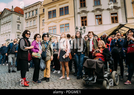 Prague, Czech Republic - September 22, 2017: Group Of Tourists Taking Photo Of Town Hall With Astronomical Clock - Orloj. - Stock Photo