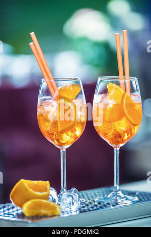 Aperol spritz drink on bar counter in pub or restaurant. - Stock Photo