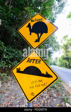 Humorous graffiti on a road sign warning of cassowaries crossing the road, Daintree National Park, Cape Tribulation, Far North Queensland, FNQ, QLD, A - Stock Photo
