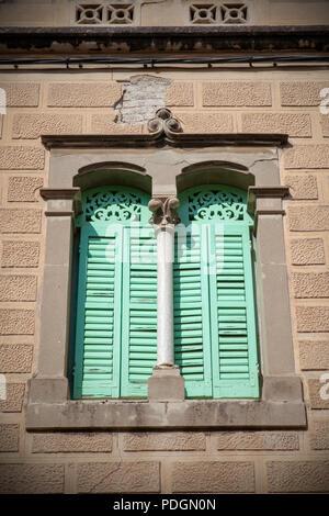 Moorish Green Shuttered Windows - Sitges, Spain - Stock Photo