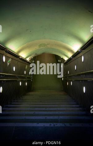 Underground Lit Passage - Stock Photo