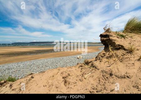 Sand Dune View at Northam Burrows: Looking Towards theTaw-Torridge Estuary, Saunton Sands and Baggy Point. Northam Burrows, Bideford, Devon, England. - Stock Photo