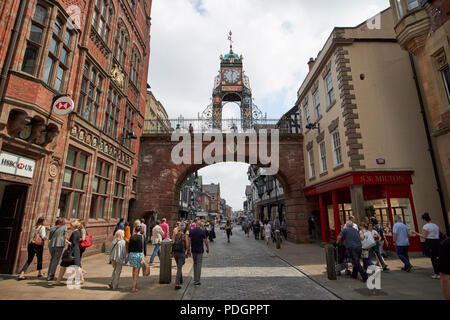 eastgate with ornate clock tower in chester city walls eastgate street chester cheshire england uk - Stock Photo