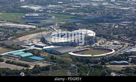 aerial view of the Etihad Campus & Stadium, Manchester - Stock Photo