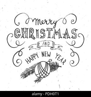 Merry Christmas Lettering Design. Vector illustration. Xmas design for congratulation cards, invitations, banners and flyers. Hand drawn holiday illus - Stock Photo