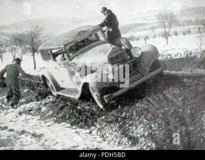 276 Rallye Monte Carlo 1934, la Hotchkiss de Gas et Trévoux - 1 - Stock Photo