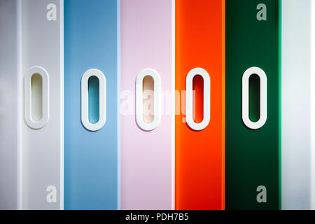 Kindergarten room with toys. Colored sliding doors to the nursery. - Stock Photo