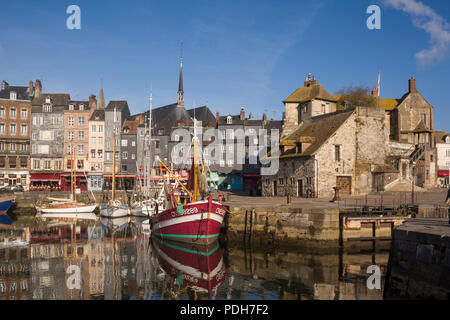 Historic fishing-boat by the Lieutenance in the old harbour, Vieux Bassin, Honfleur, Normandy, France - Stock Photo
