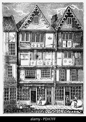 During the reign of Queen Elizabeth I, the French Ambassador, M Beaumont, resided in Butcher Row,  in the constituency of Poplar and Limehouse, London, England. The half timbered, quintessentially Tudor house consisting of small rooms bore the date 1581. - Stock Photo