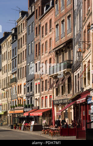 Old houses by the harbour, Vieux Bassin, in Honfleur, Normandy, France - Stock Photo