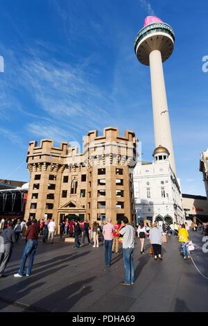 Liverpool, UK. 9th August, 2018. Liverpool's lost castles being built entirely from cardboard boxes. Located in Williamson Square, the castle is built inspired by Liverpool Castle, which stood at the top of modern day Lord Street, and is thought to have been built early in the 13th century. Credit: Ken Biggs/Alamy Live News. - Stock Photo