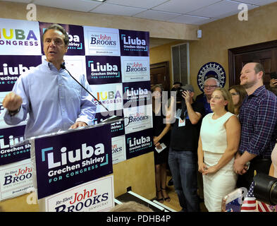 Massapequa, New York, USA. 5th Aug, 2018. Governor ANDREW CUOMO speaks at podium, as (by cirucular wall sign) NY Senator JOHN BROOKS; LIUBA GRECHEN SHIRLEY, Congressional candidate for NY 2nd District; and her husband CHRIS SHIRLEY, at extreme right; and others listen at opening of joint campaign office, aiming for a Democratic Blue Wave in November midterm elections. Credit: Ann Parry/ZUMA Wire/Alamy Live News - Stock Photo