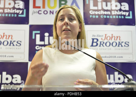 Massapequa, New York, USA. 5th Aug, 2018. LIUBA GRECHEN SHIRLEY, Congressional candidate for NY 2nd District, speaks at podium at joint campaign office opening for her and NY Senator John Brooks, aiming for a Democratic Blue Wave in November midterm elections. Credit: Ann Parry/ZUMA Wire/Alamy Live News - Stock Photo