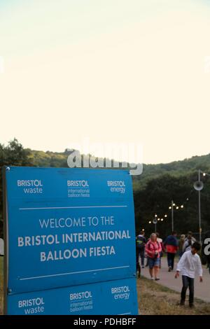 Bristol, United Kingdom. 09th August, 2018. Signage for the 40th Bristol International Balloon Fiesta. Credit: Jack Collard Credit: Jack Collard/Alamy Live News - Stock Photo