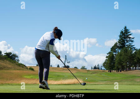 Gleneagles, Scotland, UK; 9 August, 2018.  Day two of European Championships 2018 competition at Gleneagles. Men's and Women's Team Championships Round Robin Group Stage - 2nd Round. Four Ball Match Play format. Manon Molle of France tees of on the 18th hole - Stock Photo