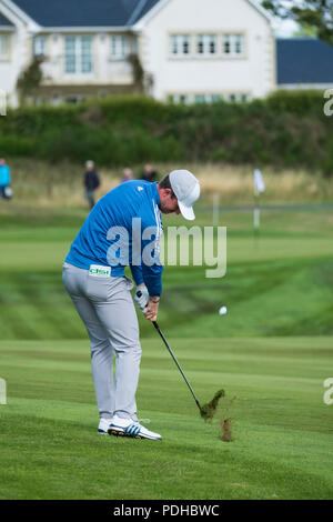 Gleneagles, Scotland, UK; 9 August, 2018.  Day two of European Championships 2018 competition at Gleneagles. Men's and Women's Team Championships Round Robin Group Stage - 2nd Round. Four Ball Match Play format. Connor Syme team GB plays to the 11th green - Stock Photo