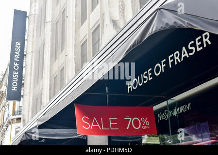 Oxford Street, London, UK. 10th August 2018.  Sports Direct buys House of Fraser for £90 million after it going into administration. Credit: Matthew Chattle/Alamy Live News - Stock Photo