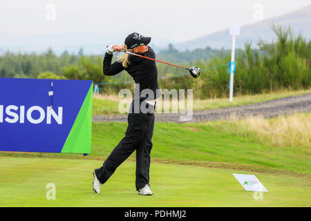 Gleneagles, Scotland, UK. 10th August, 2018. The Fourball Match Play continues with the pairing of Catriona Matthew and Holly Clyburn representing Great Britain playing against Cajsa Persson and Linda Wessberg of Sweden. Wessburg teeing off at the second Credit: Findlay/Alamy Live News - Stock Photo