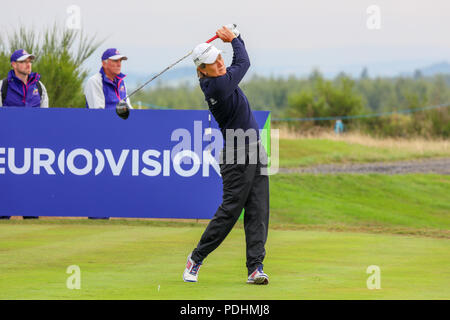 Gleneagles, Scotland, UK. 10th August, 2018. The Fourball Match Play continues with the pairing of Catriona Matthew and Holly Clyburn representing Great Britain playing against Cajsa Persson and Linda Wessberg of Sweden. Matthew teeing off at the second Credit: Findlay/Alamy Live News - Stock Photo