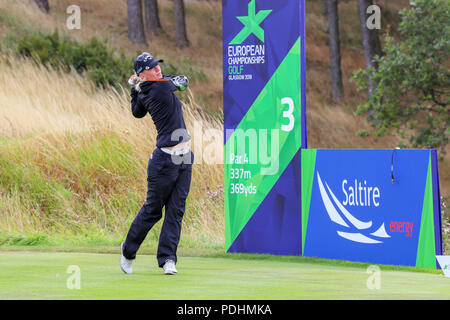 Gleneagles, Scotland, UK. 10th August, 2018. The Fourball Match Play continues with the pairing of Catriona Matthew and Holly Clyburn representing Great Britain playing against Cajsa Persson and Linda Wessberg of Sweden. Wessberg teeing off at the third Credit: Findlay/Alamy Live News - Stock Photo