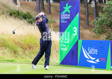 Gleneagles, Scotland, UK. 10th August, 2018. The Fourball Match Play continues with the pairing of Catriona Matthew and Holly Clyburn representing Great Britain playing against Cajsa Persson and Linda Wessberg of Sweden. Persson teeing off at the third Credit: Findlay/Alamy Live News - Stock Photo