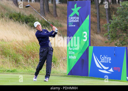 Gleneagles, Scotland, UK. 10th August, 2018. The Fourball Match Play continues with the pairing of Catriona Matthew and Holly Clyburn representing Great britain playing against Cajsa Persson and Linda Wessberg of Sweden. Matthew teeing off at the third Credit: Findlay/Alamy Live News - Stock Photo