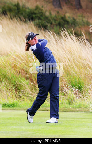 Gleneagles, Scotland, UK. 10th August, 2018. The Fourball Match Play continues with the pairing of Georgia Hall and Laura Davies representing Great Britain playing against Chloe Leurquin and Manon De Roey of Belgium Credit: Findlay/Alamy Live News - Stock Photo