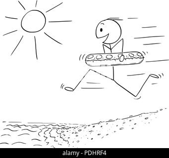 Cartoon of Happy Man With Swimming Ring Running on Beach in to Water - Stock Photo
