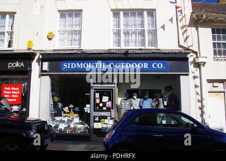 Traditional Shop Window of Sidmouth Outdoor Co. East Devon, UK. August, 2018. - Stock Photo