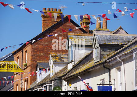 Sidmouth's Fore Street Decorated with Bunting and Union Jack Flags During the Folk Festival. East Devon, UK. August, 2018. - Stock Photo