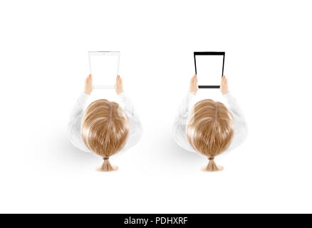 Woman hold tablet pc mockup in hand top view isolated, black and white set. Mobile ebook mock up holding in female hands from above. Blank tablet screen monitor. Clear vertical display pad booklet. - Stock Photo
