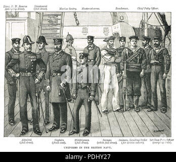 Uniforms of the British Navy in the 19th century - Stock Photo