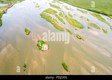 aerial view of shallow and braided Platte River near Kearney, Nebraska - Stock Photo