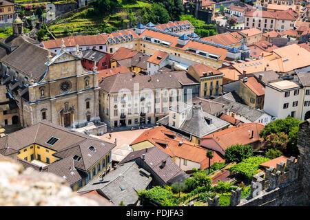 Aerial view of Bellinzona,  Ticino, Swiss Alps, Switzerland from Castelgrande - Stock Photo