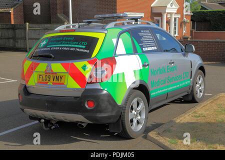 Norfolk Event, Medical Services, vehicle, emergency, service, Hunstanton, UK - Stock Photo