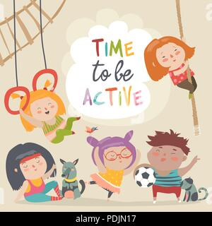 Happy kids and sport. Time to be active - Stock Photo