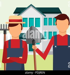 gardeners man with rake and shovel tools gardening - Stock Photo
