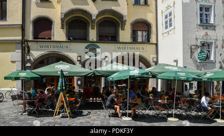 Munich, Germany - July 29, 2018: Ayingers Wirtshaus is a popular hotel and Bavarian restaurant located in the old town section of Munich - Stock Photo